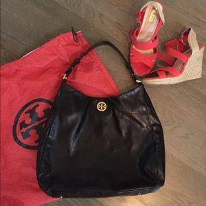 Tory Burch glazed leather hobo bag