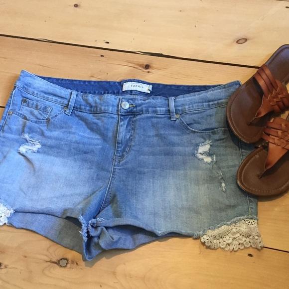 71% off torrid pants - torrid lace cutoff jean shorts plus size 22