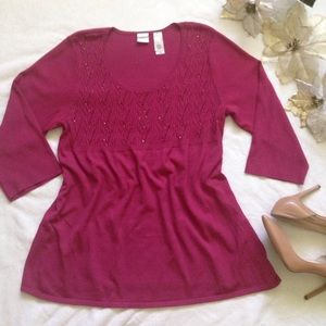 *Plus*Emma James cranberry beaded front sweater