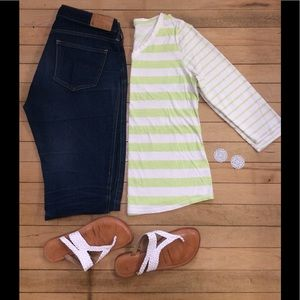 Lime and white striped 3/4 sleeve