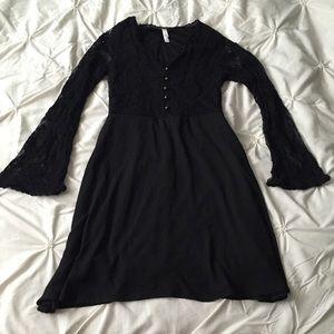 Xhilaration Black Lace Long Bell Sleeve Dress