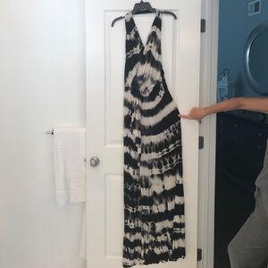 Tie Dye Halter Dress with front Drape