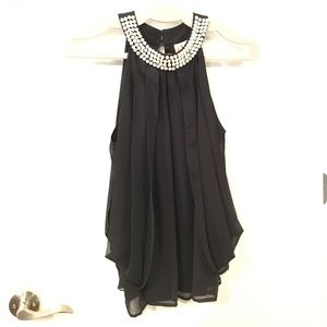 Adiva Chiffon & Pearl Sleeveless Blouse, Size M