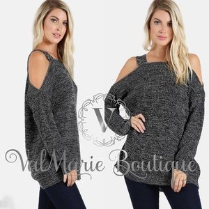 Black / Grey Marled Knit Sweater
