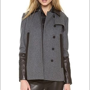 Diane von furstenburg dvf Eva leather wool jacket