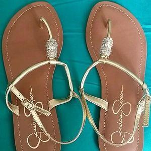 NWT gold Jessica Simpson sandals