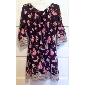 Stitch Fix Navy Floral Dress with Trumpet Sleeves