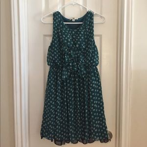 Teal Dress with Ruffle Detail