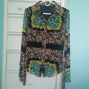 Jean Paul Gaultier Long Sleeve Floral Blouse M