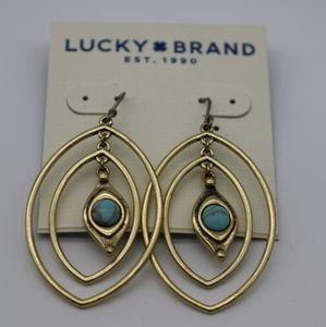 Lucky Brand Gold Blue Stone Marble Dangle Earrings