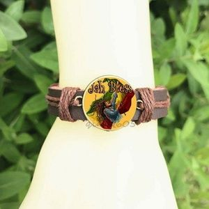 Jewelry - Jah Bless Bangle 20mm Glass Cabochon Leather