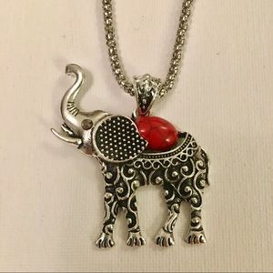 Bohemian red elephant necklace with gemstones