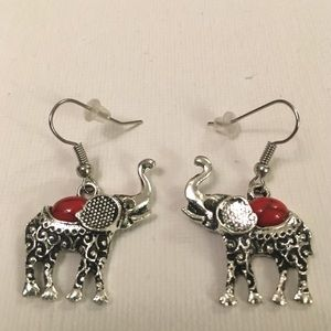 Bohemian red elephant earrings
