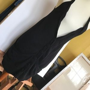 Long button up braided strap black sweater vest