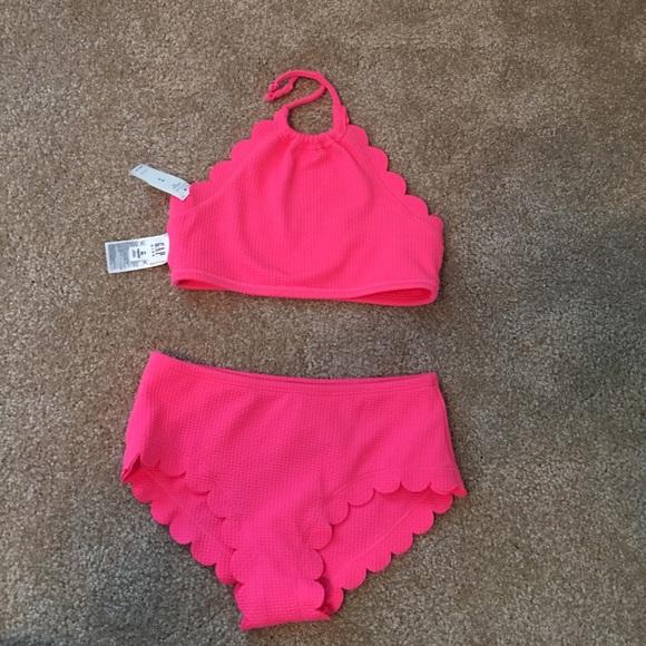 2109564cf7b GAP Swim | Girls Hot Pink Scalloped Two Piece Suit | Poshmark