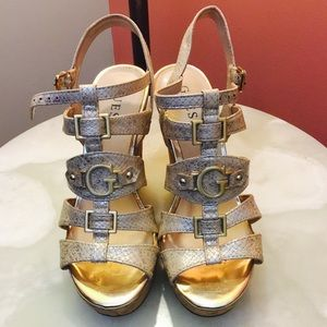 Guess Wedge Platform Slip on Sandals Silver/Cork