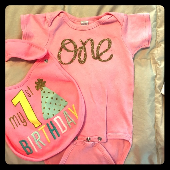 Carter's Other - ONE onesie for girl first birthday with bib