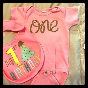 Carter's One Pieces - ONE onesie for girl first birthday with bib