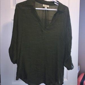 Green peasant shirt