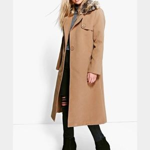 NWT Removable Faux Fur Collar Camel Wool Look Coat
