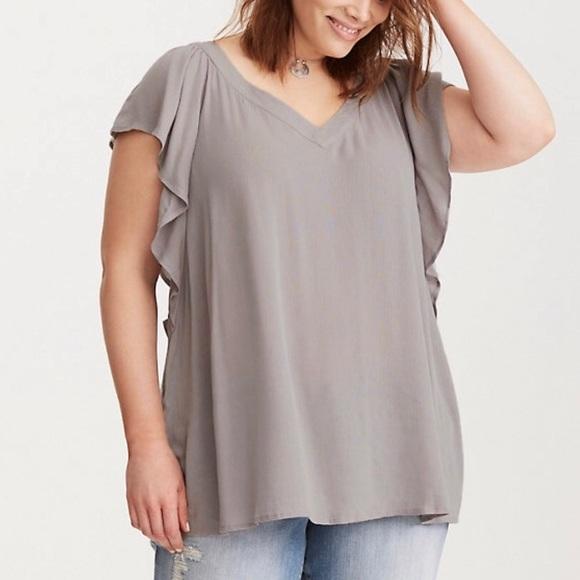 194dc1e3b56ef Lace Back Flutter Sleeve Blouse - Plus Size 2 NWT