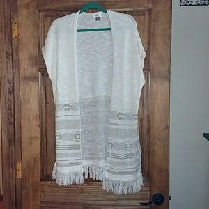 Old Navy Boho Fringe Long Vest