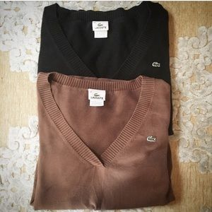 2 Lacoste V-Neck Cotton Sweaters