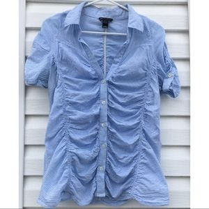 Checkered pastel blue shirt by Mango