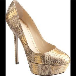 Snake skin gold metallic platforms.