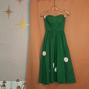 Gorgeous TINY vintage 50's kelly green party dress