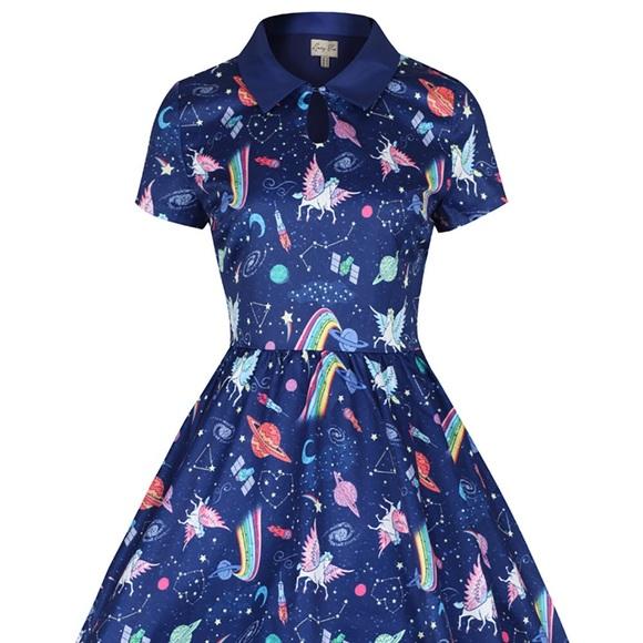 2ce0ab779d97 Modcloth Dresses | Lindybop Helena Space Unicorn Print Dress | Poshmark