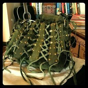 forest green rabbit fur, leather bag