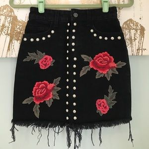 LF Carmar embroidered studded denim skirt