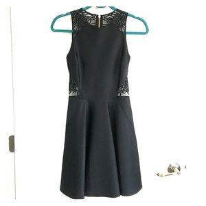 """Ted Baker """"Venma"""" Black Lace Detail Skater Dress"""