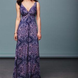 Navy blue twist front paisley maxi dress