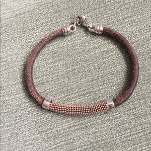 Jewelry - Brown Leather, Silver, Rose Gold Center Bracelet
