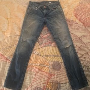 J Crew Vintage Straight Ripped Jeans 26R
