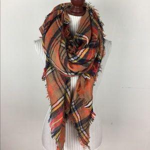 Accessories - 🆕NWOT Orange Plaid Blanket Scarf