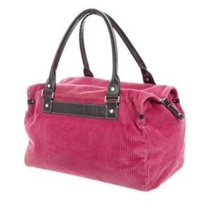 Kate Spade Raspberry Corduroy & Brown Leather bag
