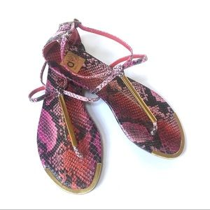 "Dolce Vita pink ""snakeskin"" & gold sandals."
