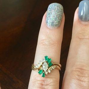 Jewelry - 14KT Y/G Marque Diamond With Emeralds Wedding Set
