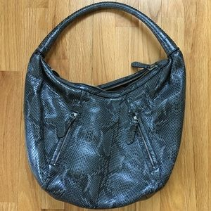 Cole Haan Gray Snakeskin Leather Hobo