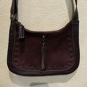 Longchamp brown leather and suede bag