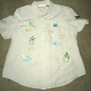 Sarah Spencer Blouse Size 12 Embroidered Fish