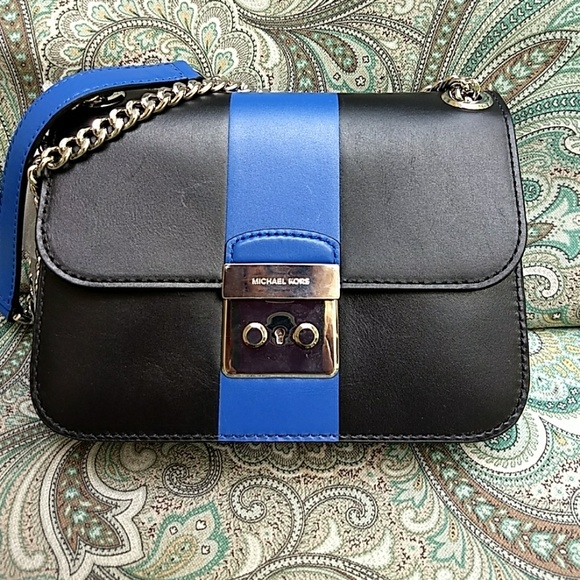 8109b0bcf568 Michael Kors Sloan black blue stripe leather bag