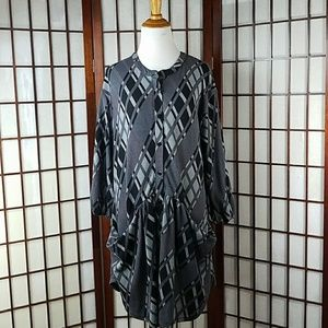 REBORN Button Front Pockets Casual Tunic Dress