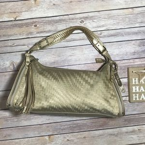 COLE HAAN GUC Leather/ Canvas GoldMetallic Satchel