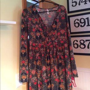 Floral Xhilaration Long-Sleeved Dress
