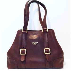 Prada triangle deep red purple leather tote bag