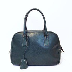 Prada green leather bauletto satchel handbag